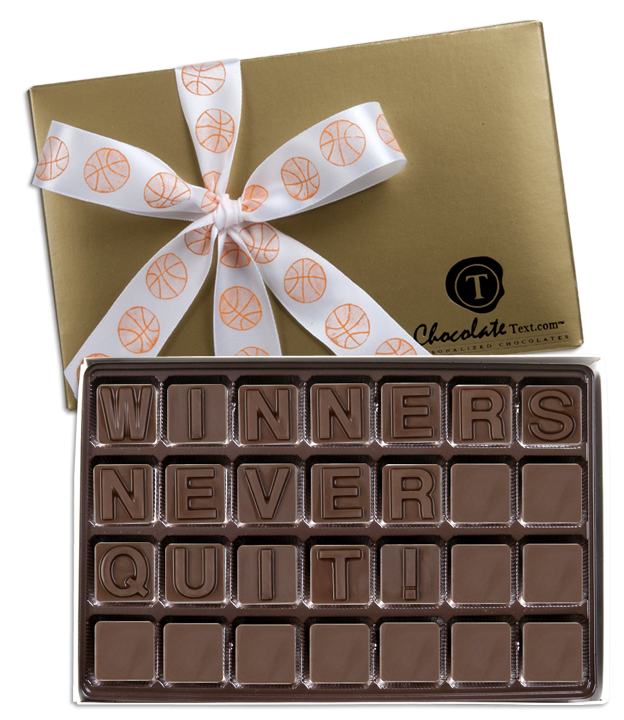 Chocolate Text - Winners Never Quit!-with imprinted ribbon