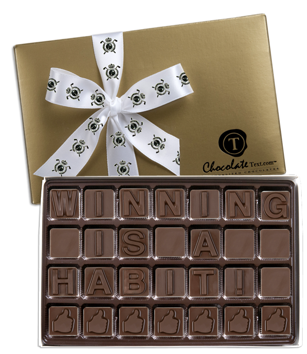 Chocolate Text - Winning Is A Habit!-with imprinted ribbon