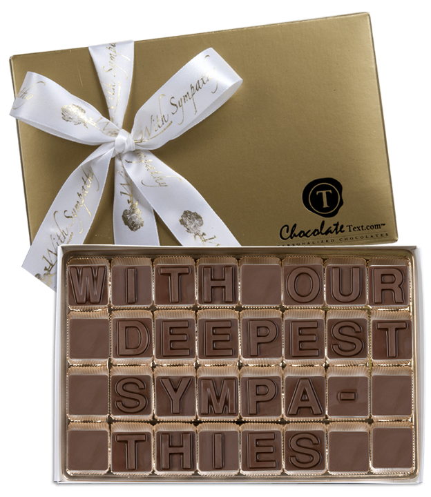 Chocolate Text - With Our Deepest Sympathies-with imprinted ribbon