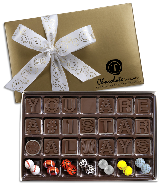 Chocolate Text - You Are A #1 Star Always!-with imprinted ribbon and sports balls