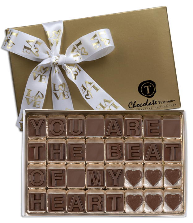 Chocolate Text - You are the Beat of my Heart-with imprinted ribbon