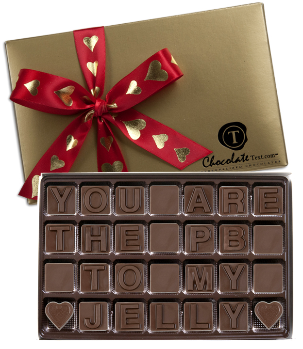 Chocolate Text - You Are The PB To My Jelly-with imprinted ribbon