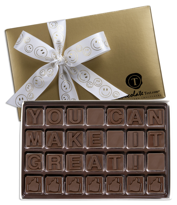 Chocolate Text - You Can Make It Great!-with imprinted ribbon