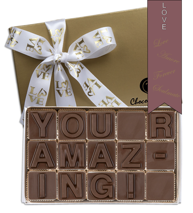 Chocolate Text - You R Amazing!-with imprinted ribbon - Military
