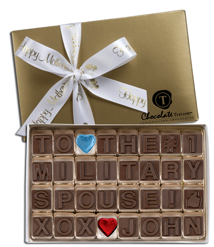 Chocolate Text - #1 Military Spouse - Happy Mother's Day-with imprinted ribbon