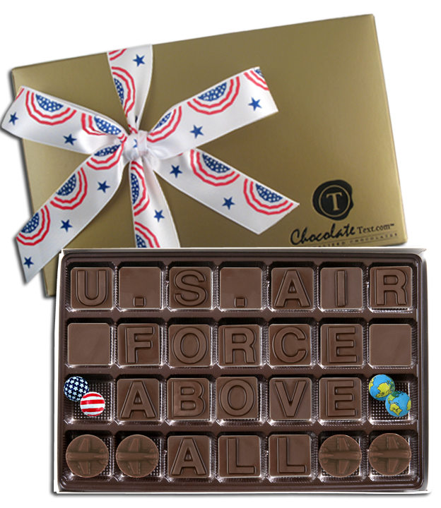Chocolate Text - Air Force - Above All with Patriotic Ribbon