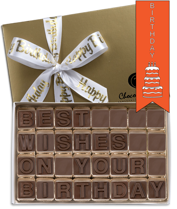Chocolate Text - Best Wishes on your Birthday - with imprinted ribbon - Military