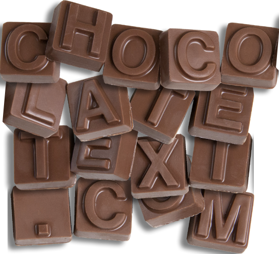 Chocolate Text - <b>Thinking Of You with Foiled Hearts </b> - 15 pc. ChocolateText box