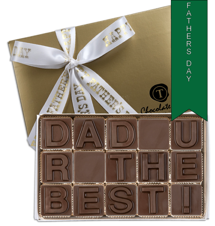 Chocolate Text - Dad U R The Best!-with imprinted ribbon - Military