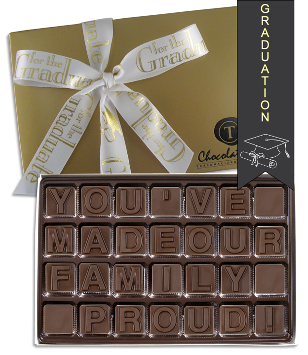 Chocolate Text - You've Made Our Family Proud!-with imprinted ribbbon - Military