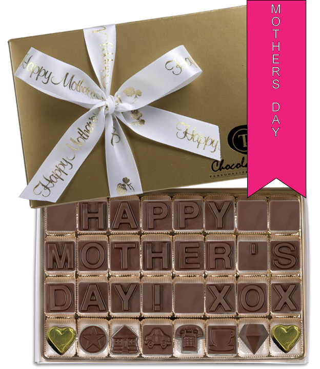 Chocolate Text - Happy Mother's Day-with imprinted ribbon - Military