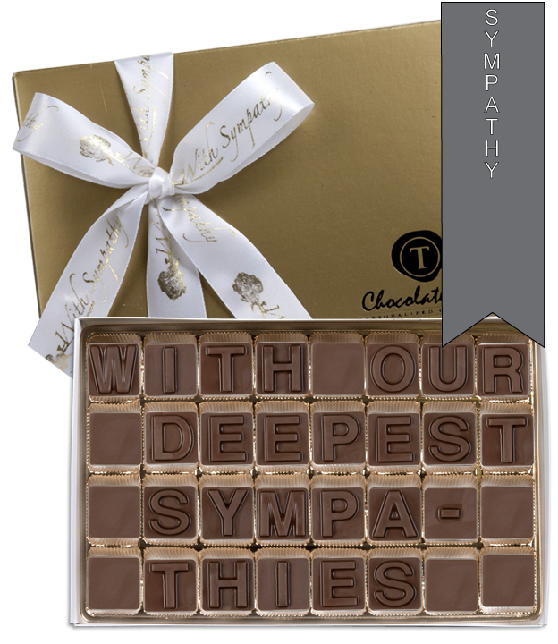 Chocolate Text - With Our Deepest Sympathies - with imprinted ribbon - Military