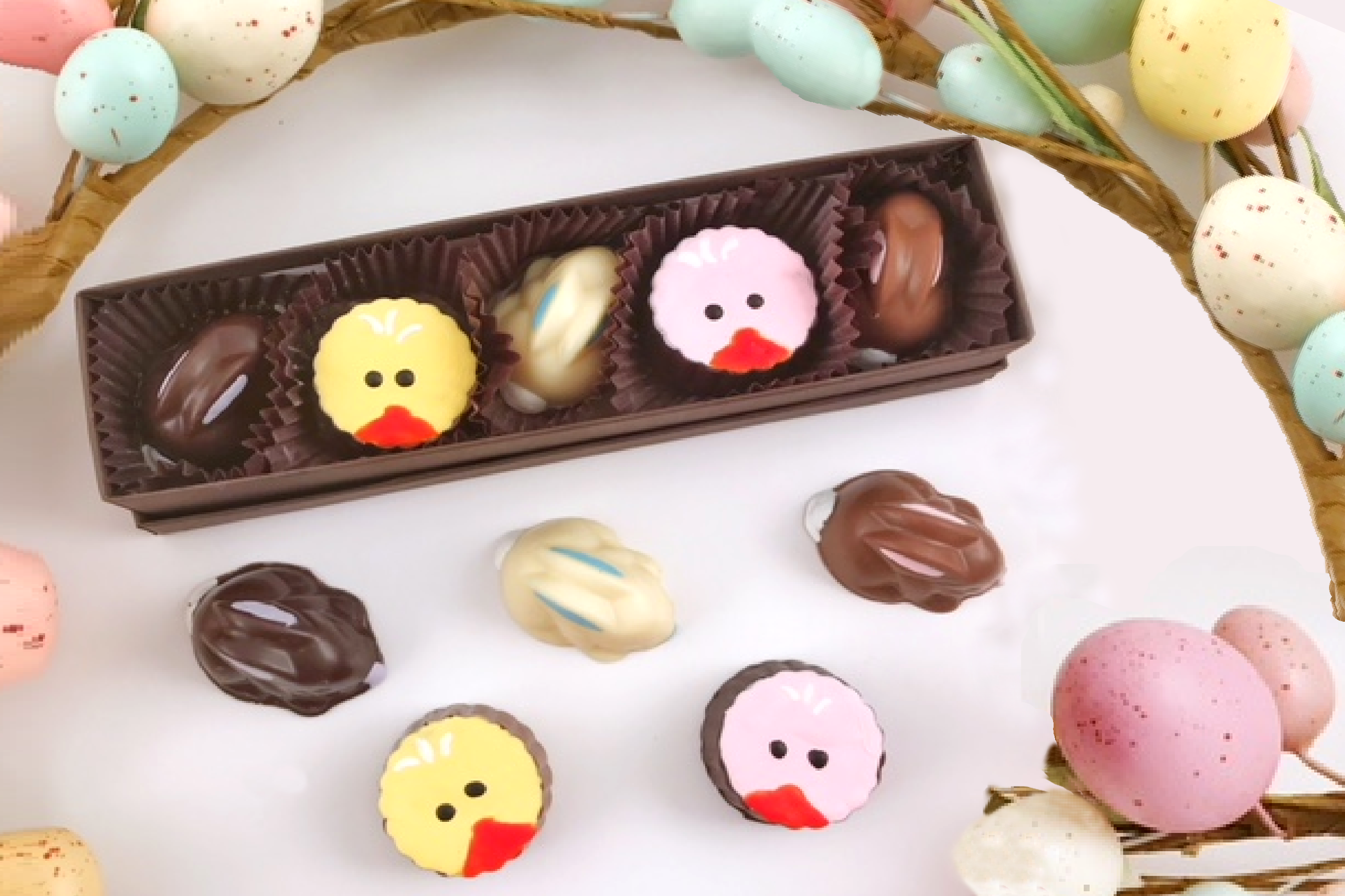 Chocolate Text - <b>5 Piece Sweet Spring Box </b>- set of 2 pcs each
