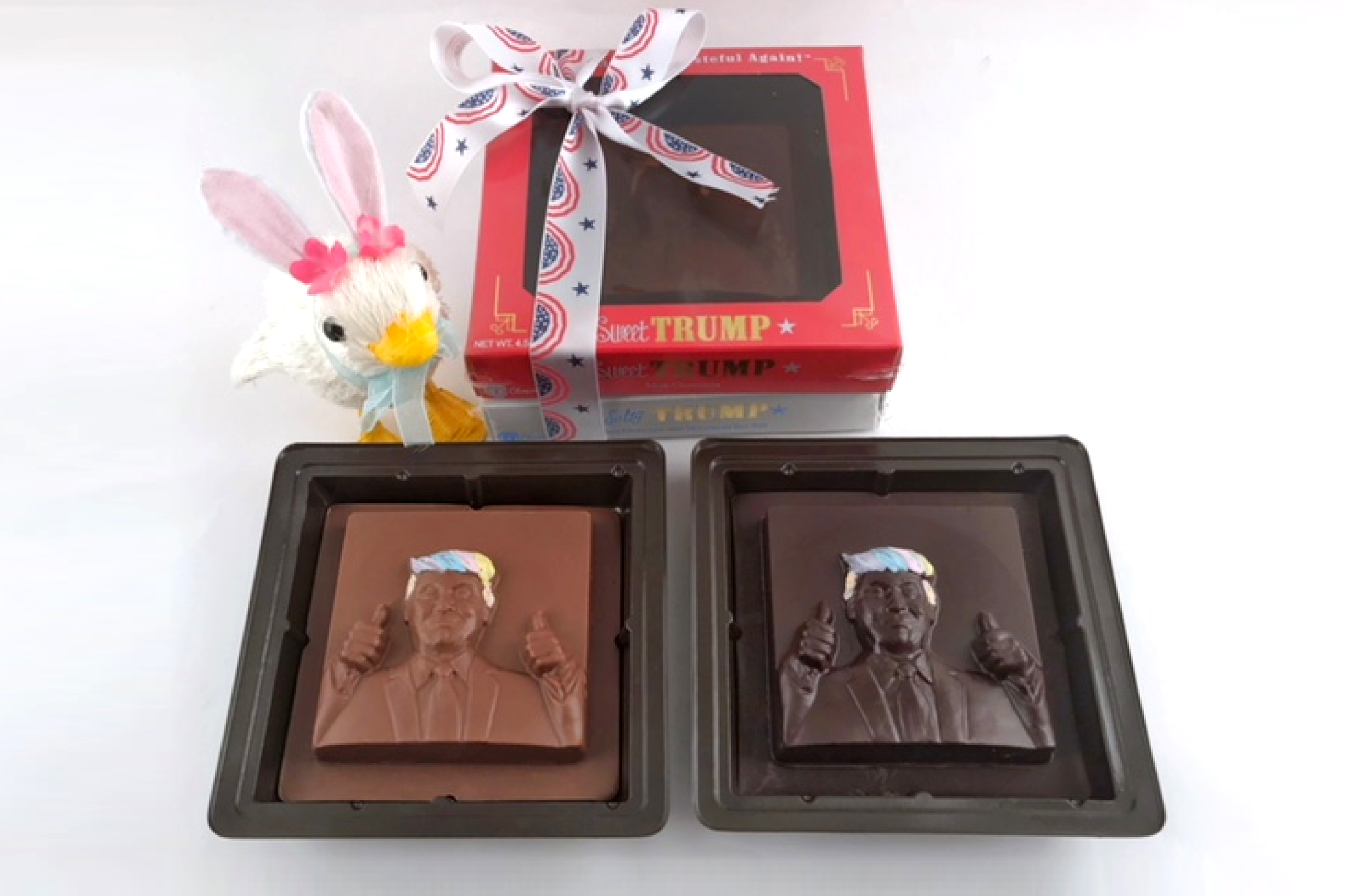 Chocolate Text - <b>SPRING IS IN THE HAIR! - Make America Tasteful Again!™</b> - Salty Trump & Sweet Trump - 2 piece Solid chocolate set